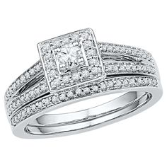 Women's 1/2 CT.T.W Round Diamond Prong Set Bridal Ring in 10K White Gold (I2-HI)