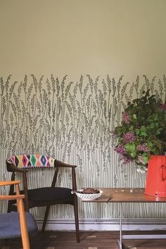Could be a cool graphic on the exterior window wall as a film. Farrow and Ball Feather Grass Wallpaper