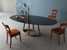 Oval marble table GREENY by Bonaldo | design Gino Carollo
