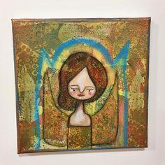 A loving and bronze angel to brighten your Sunday  #etsy #art #mixedmedia #acatlikecuriosity #originalpainting #colourfulart #whimsicalart #originalartwork #affordableart #beautifulart http://etsy.me/2nk56ce