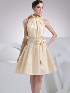 $135.29 Appealing A-Line Taffeta High neck Bowknot #Cheap #Bridesmaid #Dresses