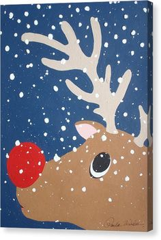 Rudolph The Red Nosed Reindeer Canvas Print by Paula Weber