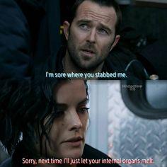 [1x16] KURT: Hey, you okay? I'm fine. I'm sore where you stabbed me.  JANE: Sorry, next time I'll just let your internal organs melt.  #jeller #blindspot #blind #spot #janedoe #jane #doe #jaimiealexander #taylorshaw #kurtweller #kurt #weller #sullivanstapleton #patterson #ashleyjohnson #edgarreed #robbrown #tashazapata #audreyesparza #bethanymayfair #mariannejeanbaptiste #drborden #ukweliroach #lukemitchell #roman #fbi