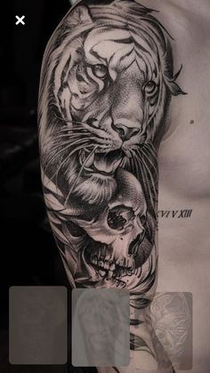 Lion Head Tattoos, Cool Arm Tattoos, Lion Tattoo, Skull Tattoos, Animal Tattoos, Leg Tattoos, Black Tattoos, Body Art Tattoos, Tattoos For Guys