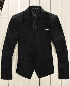 Long Sleeve Lapel Men Korean Style One Button Black Cotton Suit M/L/XL @1013SJX521b