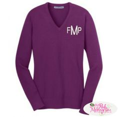 Monogrammed Ladies Rib Knit V neck Sweater in Great Colors  Apparel & Accessories > Clothing > Shirts & Tops > Sweaters & Cardigans