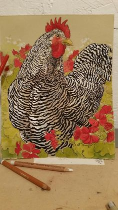 Plymouth Rock Rooster, 5th in the series of these. Started a couple weeks ago; finished him tonight while working an open studio event.