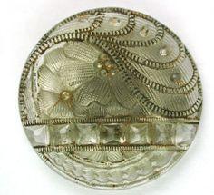 "Antique Lacy Glass Button w/ Gorgeous Floral Design 7/8"" #Collectible"