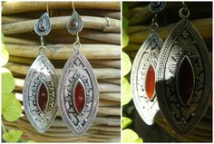 Silver and alpaca turkmen earings with red agata, Afghanistan