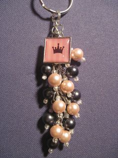 Pink and Hematite Pearl Glass Bead Purse Charm / Key Chain by FoxyFundanglesByCori, $10.00