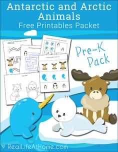 Free Printable Antarctic and Arctic Animals Preschool Packet featuring line tracing, visual discrimination, counting, coloring, and more.