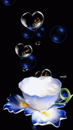 Blessing Bubbles with a cup of tea for you from me ¥! Have a Happy Weekend! Foto Gif, Gif Photo, Good Morning Friends, Good Morning Good Night, Morning Pictures, Good Morning Images, Corazones Gif, Beau Gif, Animated Heart