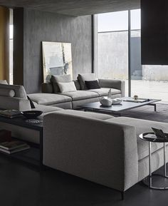 Sofa Michel Club -BB Italia - Design by Antonio Citterio Living Room Grey, Formal Living Rooms, Living Room Sets, Living Room Interior, Home Living Room, Living Spaces, Living Area, Masculine Living Rooms, Sofa Design
