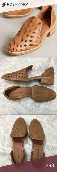 "Jeffrey Campbell Open Punch Loafers D'Orsay Details:  Fits true to size Slip-on styling Leather upper, insole Synthetic sole Imported Style No. 40059024 Dimensions  1.25"" stacked leather heel Anthropologie Shoes Flats & Loafers"