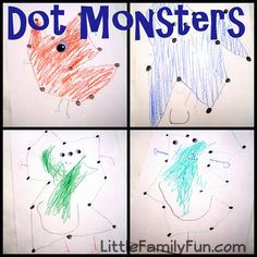Dot-to-Dot Monsters activity for toddlers or preschool.