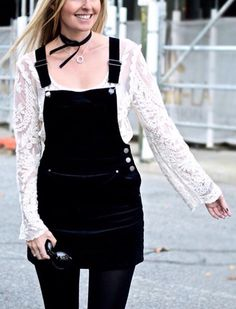 Overall and lace top so cute
