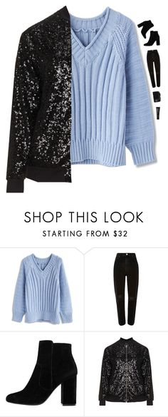 """""""Blue sweater"""" by genesis129 ❤ liked on Polyvore featuring Chicwish, MANGO, Manon Baptiste, CO, NARS Cosmetics and vintage"""