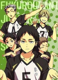 / Bokuto, Konoha, Sarukui, Komi and Akaashi Haikyuu, Sports Anime, Haikyuu Anime, Anime, Manga