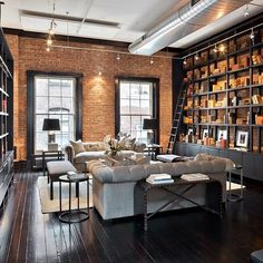 love this industrial chic library