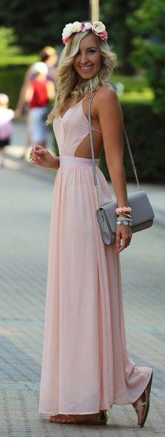 Cute cross backless sexy long chiffon dress