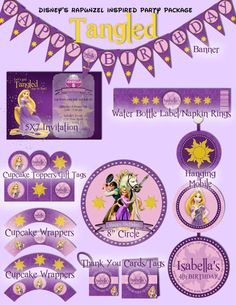 "Disney Tangled Princess Rapunzel Party Package Invitation Included - Printable and customized with your party details. Also included banner, cupcake toppers/gift tags, cupcake wrappers, bottle labels/napkin rings, hanging mobile, thank you cards/tags, 8"" circle. DIY digital file. Deluxe Party Package also available."