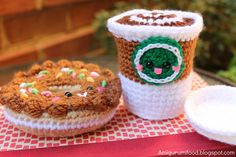 Yay, anthropomorphic food! The most adorable donut and cuppa joe I've ever seen. What's better is the site offers a free pattern!!!! :)