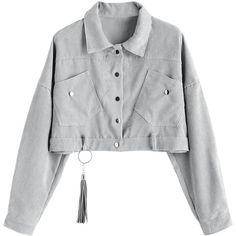 Gray ONE SIZE Corduroy Cropped Ribbed Jacket (€17) ❤ liked on Polyvore featuring outerwear, jackets, corduroy jacket, grey jacket, grey cropped jacket, gray jacket and cropped jackets