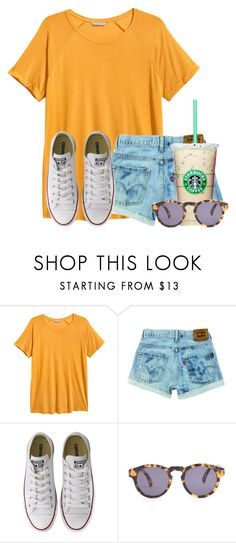 """You are a Pink starburst, not a Yellow one:)"" by flroasburn ❤ liked on Polyvore featuring H&M, Converse and Illesteva"