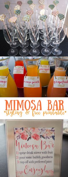 Mimosa Bar styling & free printables for sign and juice tags. Ideas on how to pull together a beautiful mimosa bar for bridal shower or celebration!