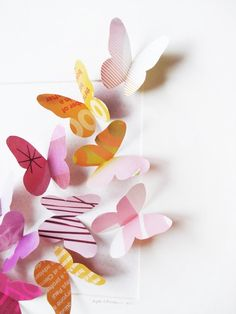 Up cycled paper butterflies! Looks much nicer then the store bought ones actually