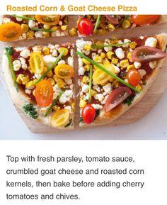 Salsa de tomate, perejil queso de cabra y choclo para ir al heno y ...