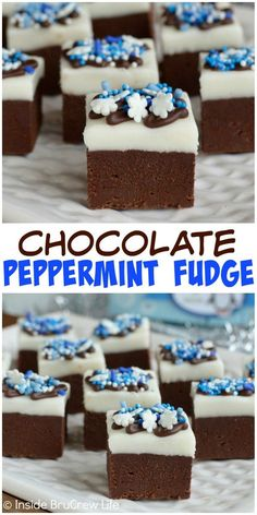 Peppermint Topping - This Chocolate Peppermint Fudge has layers of creamy chocolate fudge and homemade peppermint patty filling. Homemade Peppermint Patties, Peppermint Fudge, Homemade Fudge, Homemade Candies, Fudge Recipes, Candy Recipes, Snack Recipes, Dessert Recipes, Snacks