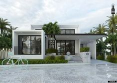Flat House Design, Modern Bungalow House Design, Modern Bungalow Exterior, Single Floor House Design, Modern Small House Design, Modern House Facades, Home Modern, House Front Design, Modern Architecture House