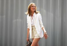 Love these high wasted light beige shorts with blouse and blazer. It's got a summer feel to it
