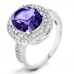 #Trending on hazrati.com: ELYA Sterling Silver Amethyst Purple Oval Cubic Zirconia Double Halo #Ring