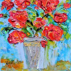 Original oil painting Red Roses still life abstract impressionism fine art impasto by Karen Tarlton on Etsy, $49.00