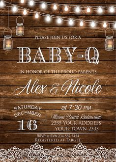 baby q invitation coed bbq baby shower rustic wood | shower ideas, Baby shower invitations