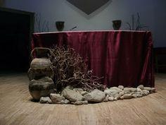 A dramatic Ash Wednesday or Lenten altar decoration
