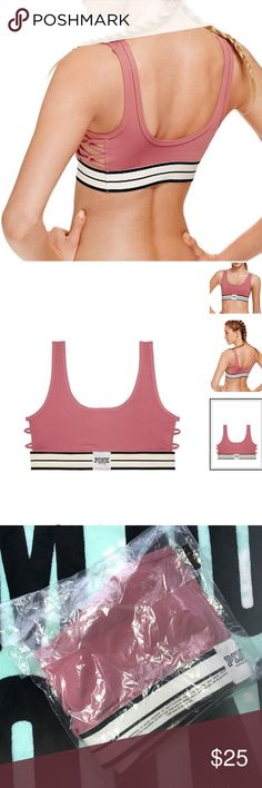 🆕Victoria's Secret PINK Strappy Yoga Bra Price Firm unless bundled...Shipped in online original packaging.Keep up with us in this have-to-have new sports bra, so perf for medium impact activities. Form meets function with a classic  Medium Impact Lightly Lined Padding Quick dry 4-way stretch fabric Compressive fit Supportive bottom-band, armhole, Sheer mesh detail on straps and back panels Scoop neckline for everyday wear Imported nylon/spandex...Color:Soft Begonia PINK Victoria's Secret…