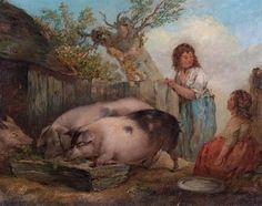 Pigs in a Farmyard - George Morland