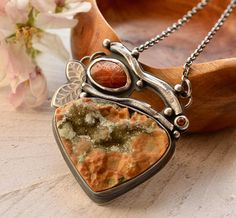 THIS NECKLACE IS NOW RESERVED FOR DEAR E. PLEASE DO NOT PURCHASE UNLESS ITS FOR YOU. Thank you so much lovely! Sabine xox Handcrafted necklace featuring a gorgeous natural ocean jasper druzy cabochon which is accented by hand cast branches, a beautiful Oregon sunstone and a 3mm