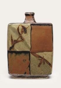 Shoji Hamada - a Stoneware Bottle, four alternate panels in ochre and ash glaze with iron brush pattern