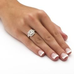 Ultimate CZ Gold over Silver Cubic Zirconia Wedding-style Ring Set | Overstock.com Shopping - The Best Deals on Cubic Zirconia