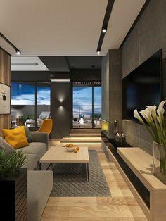 idée aménagement salon, appartement luxueux, table beige rectangulaire, chaise jaune