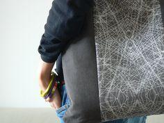 Grey corduroy tote bag made by Sagacraft