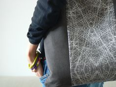 Grey corduroy tote bag made by Sagacraft