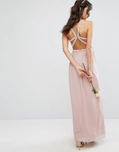 TFNC WEDDING Embellished Maxi Dress With Embellished Strappy Back