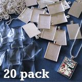 20 Pack 25x35mm Silver Rectangle Photo Pendants w/ Glass and Ball Chains