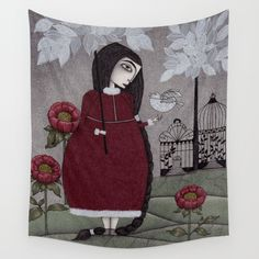 Winterbird, or Hope is a Thing With Feathers Wall Tapestry
