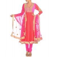 Deep Rose Anarkali Suit with Floral Gota Pattern
